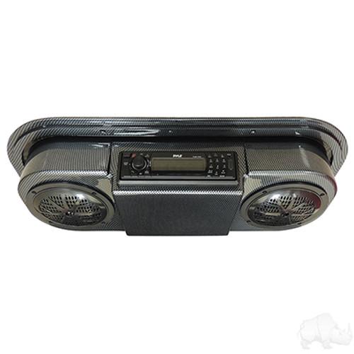 Carbon Fiber Console w/Pyle Marine Receiver, Pyle Speakers, & Antenna