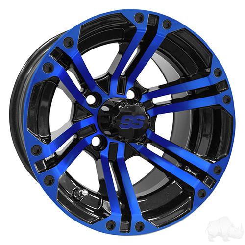 RHOX RX334  12X7 ET25 Machined  Black  Blue with Center cap