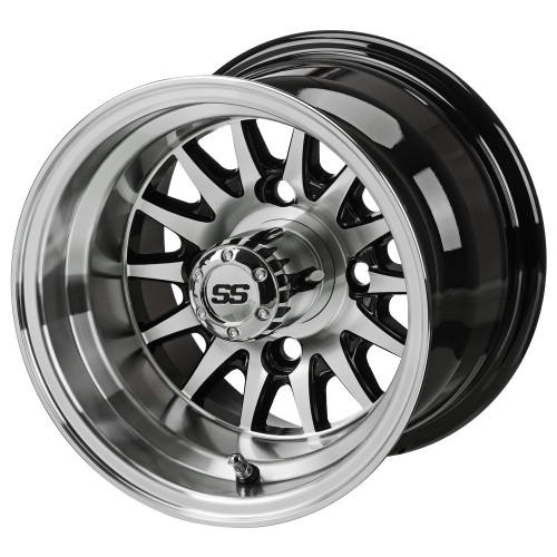 LSC 14-Spoke SS Machined/Black 3+4 Offset