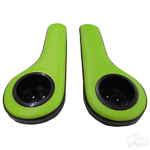 Universal Padded Arm Rest Cup Holder Set Black/Green