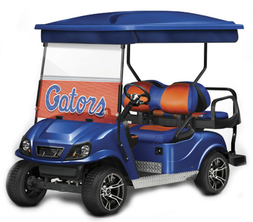 Doubletake complete EZ-GO TXT Golf Cart Refurbish Kit in Blue with WindowVision Decals