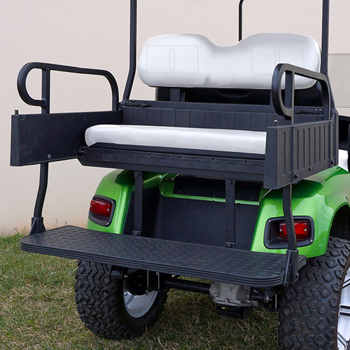 RHINO 900 Series Rear Seat/Cargo Box Kit for EZ-GO RXV Black (White Shown)