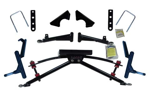 "Jake's double A-arm lift kit (4"" lift). Accepts up to 23x10.5-12 tire. Club Car gas 97-04.5, electric 82-04.5 DS w/Metal dust covers on front hubs"