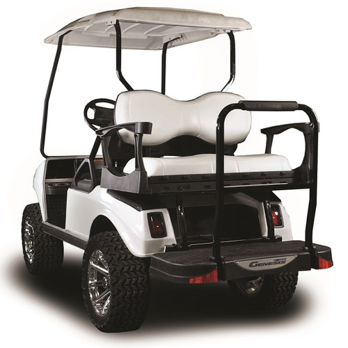 Madjax Genesis 250 with Deluxe White Steel Rear Flip Seat Fits Club Car DS