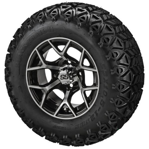 LSC Ninja Machined Black with Trail Fox 22X10-12 AT Tire Set of 4