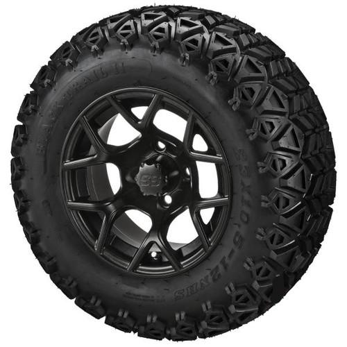LSC Ninja Matte Black with Trail Fox 22X10-12 AT Tire Set of 4