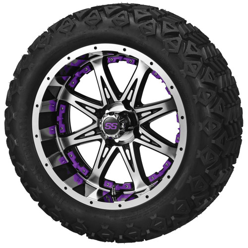 LSC Revenge 12X7 Machined Black with Purple Inserts 23 X 10-12 AT Tires