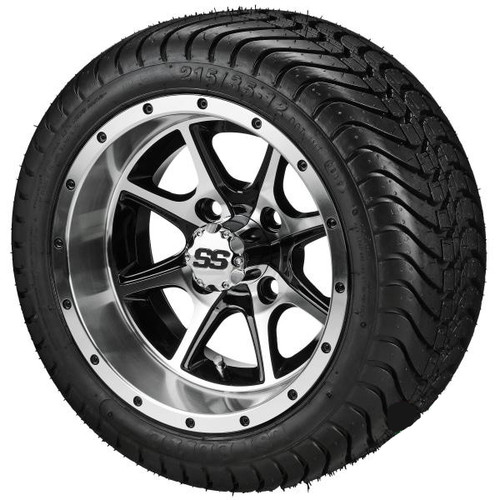 LSI 12X7 Azusa Black/Machined Wheel With 215/35-12 DOT LP Tire Set of 4