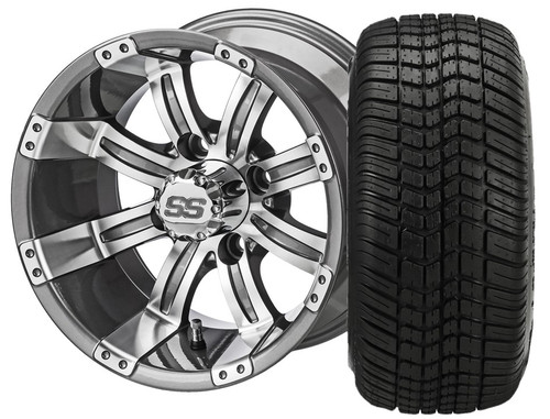 LSI 12X7 Casino Gun Metal Machined Wheel With 215/35-12 DOT LP Tire Set of 4