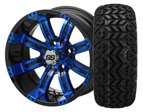 14X7 Casino ET-15 Black/Blue With 23 X 10-14 All Terrain Tires Set of 4