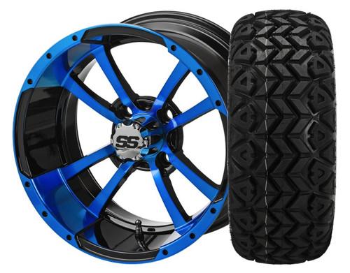 14X7 Maltese Cross  ET-15  Black/Blue With 23 X 10-14 All Terrain Tires Set of 4