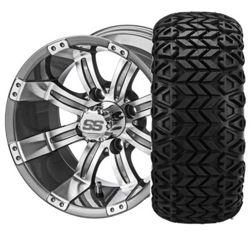 12X7 Casino Gun Metal/Machined with 23X10-12 All Terrain Tires Set of 4