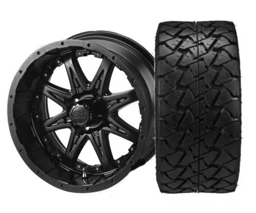 "14"" Revenge Matte Black with 22 X 10 -14 Trail Fox All Terrain Tire Set of 4"