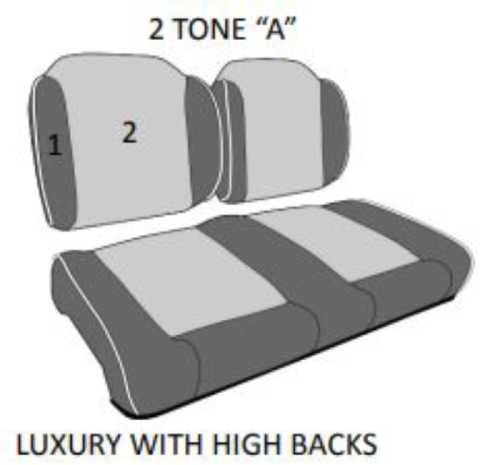 Luxury Exclusive Golf Cart Seat With High Backs Headrest (shown with Optional Center Stitching and Piping)