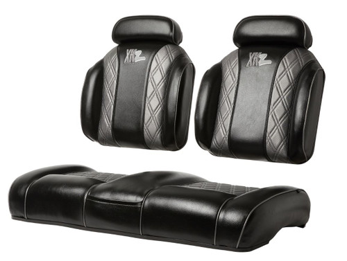 Luxury Exclusive Two Tone with Stripe and Headrest High Back Golf Cart Seat  (shown with Optional Center Stitching and Piping)