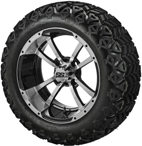 14X7 Maltese Cross  ET-15 Machined Black  With 23 X 10-14 All Terrain Tires Set of 4