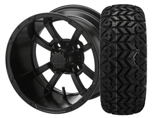 14X7 Maltese Cross ET-15 Matte Black With 23 X 10-14 All Terrain Tires Set of 4