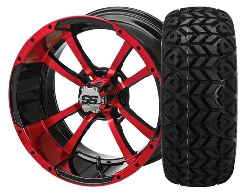 14X7 Maltese Cross ET-15  Black/Red With 23 X 10-14 All Terrain Tires Set of 4