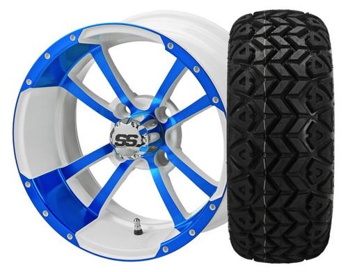14X7 Maltese Cross ET-15  White/Blue With 23 X 10-14 All Terrain Tires Set of 4