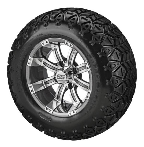 10X7 Casino Gun Metal/Machined with Black Trail II 22-11-10 All Terrain Tire Set of 4
