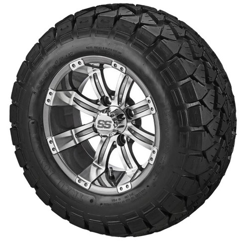 LSI Casino 10X7 Gun Metal/Machined with 22 X 10 Trail Fox All Terrain Tires Set of 4