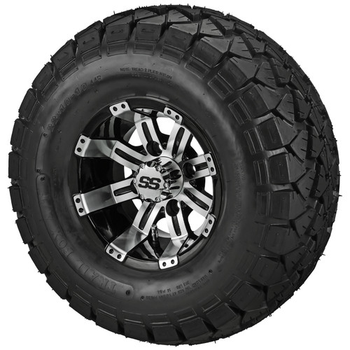 LSI Casino 10X7 Machined/Black with 22 X 10 Trail Fox All Terrain Tires Set of 4