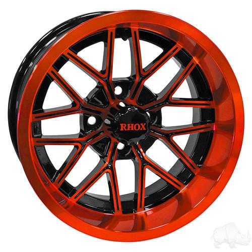 RHOX RX281, Gloss Black w/ Orange and Center Cap, 12x7 ET-25