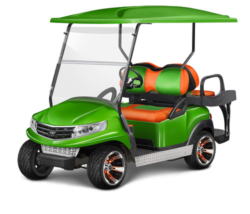 Doubletake Phoenix Body Kit for Club Car Precedent in Lime Featuring Tropical Edition Lime-Orange Seat Cushions on  a Non-Lifted Cart