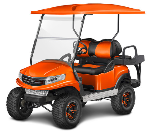 Doubletake Phoenix Body Kit for Club Car Precedent in Black Featuring Clubhouse Black-Orange Cushions on a Lifted Cart