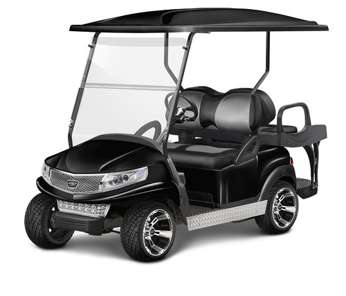 Doubletake Phoenix Body Kit for Club Car Precedent in Black Featuring Clubhouse Black-Silver Seat Cushions on  a Non-Lifted Cart