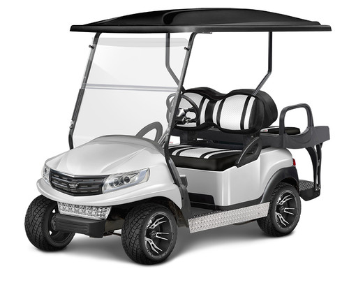 Doubletake Phoenix Body Kit for Club Car Precedent in Pearl Featuring Clubhouse Black-White Seat Cushions on  a Non-Lifted Cart