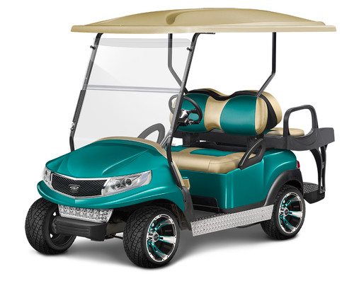 Doubletake Phoenix Body Kit for Club Car Precedent in Teal Featuring Veranda Edition Sand-Teal Seat Cushions on  a Non-Lifted Cart