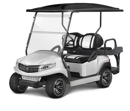Doubletake Phoenix Body Kit for Club Car Precedent in White Featuring Extreme Deluxe Edition White-Black Seat Cushions on  a Non-Lifted Cart