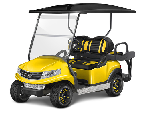 Doubletake Phoenix Body Kit for Club Car Precedent in Yellow Featuring Extreme Deluxe Edition Yellow-Black Seat Cushions on  a Non-Lifted Cart