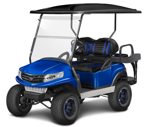 Doubletake Phoenix Body Kit for Club Car Precedent in Black Featuring Extreme Deluxe Black-Blue  Cushions on a Lifted Cart