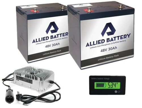 Allied Lithium Battery Set 2 X 48V - 30AMP (60AMP Total) for Club Car 48V Golf Carts  Includes Charger