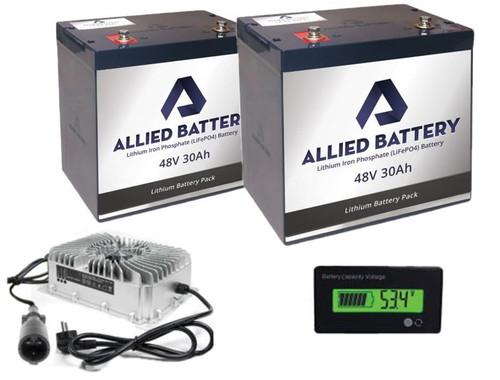 Allied Lithium Battery Set 2 X 48V - 30AMP (60AMP Total) for EZ-GO 48V Golf Carts  Includes Charger