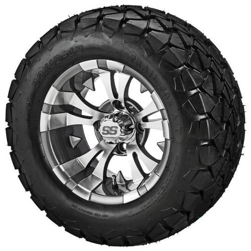 LSI 12X7 Gun Metal Gray/Machined Warlock Wheel w/22X10.00-12 Trail Fox A/T Tires