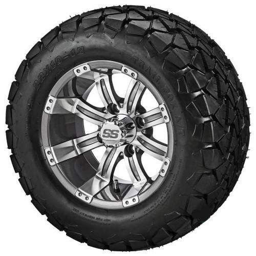LSI 12X7 Gun Metal Gray/Machined Casino  Wheel w/22X10.00-12 Trail Fox A/T Tires