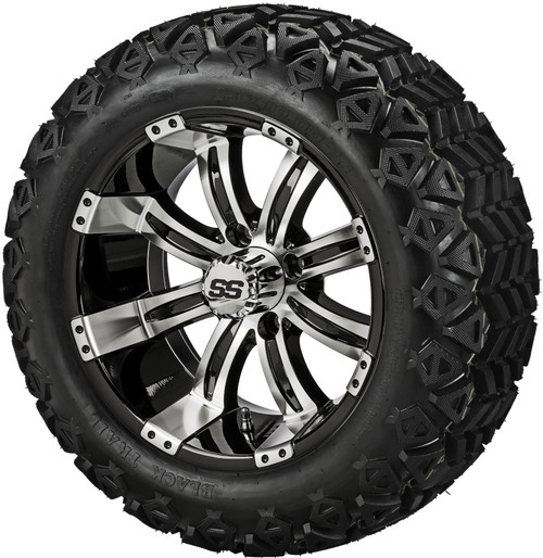14X7 Casino Black/Machined  ET-15 With 23 X 10-14 All Terrain Tires Set of 4