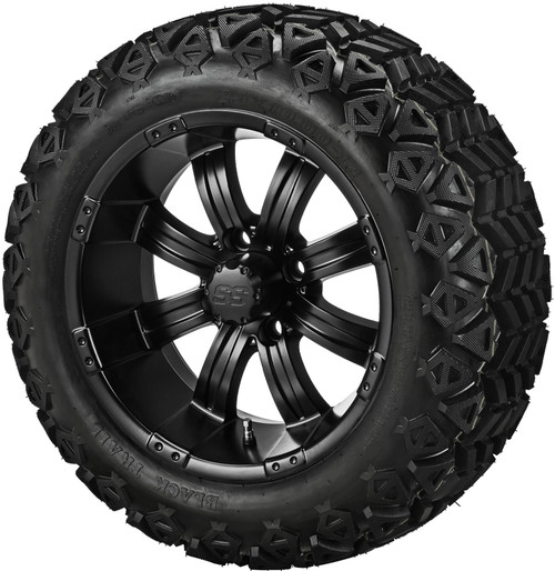 14X7 Casino Matte Black  With 23 X 10-14 All Terrain Tires Set of 4