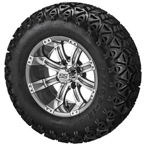 "14X7 Casino Gun Metal/Machined  Black  With 23 X 10-14 All Terrain Tires Set of 4 (12"" Shown)"