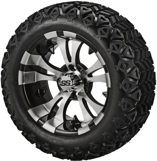 14X7 Warlock Machined/Black  With 23 X 10-14 All Terrain Tires Set of 4