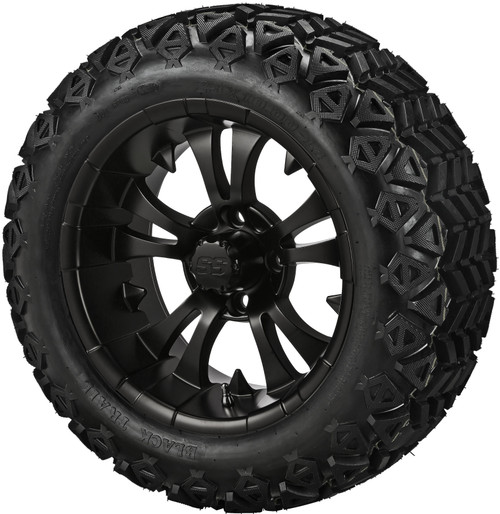 14X7 Warlock Matte Black  With 23 X 10-14 All Terrain Tires Set of 4