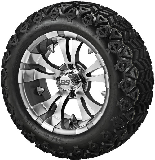 14X7 Warlock Gun Metal/Machined  With 23 X 10-14 All Terrain Tires Set of 4