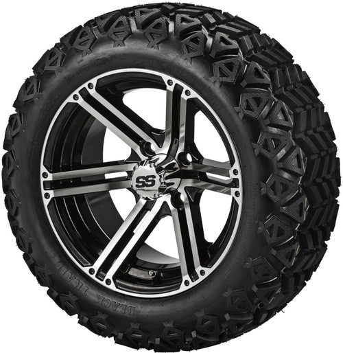14X7 Yukon Black/Machined  ET-15 With 23 X 10-14 All Terrain Tires Set of 4