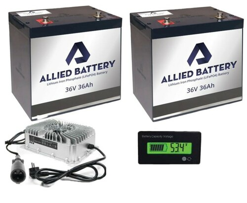 Allied Lithium Battery Set 2 X 36V - 36AMP (72AMP Total) for Club Car 36V Golf Carts  Includes Charger