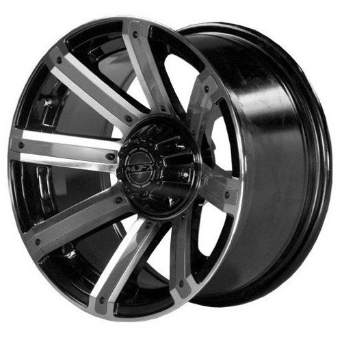 "14"" MJFX Avenger Machined & Black Wheel with Green Color Inserts (3:4 Offset)"
