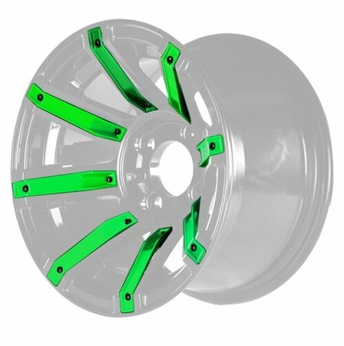 """14"""" MJFX Avenger Machined & Black Wheel with Green Color Inserts (3:4 Offset)"""