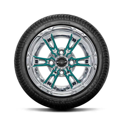 """Doubletake 12"""" Wicked 57 Series Street Chrome with Teal Set of 4"""